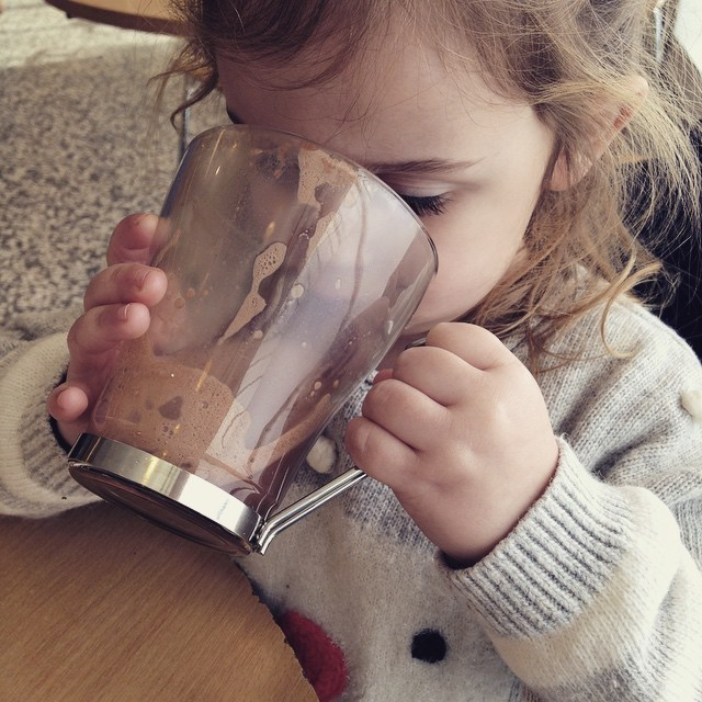 Sharing mummy's hot chocolate (or drinking it all!!) #latergram