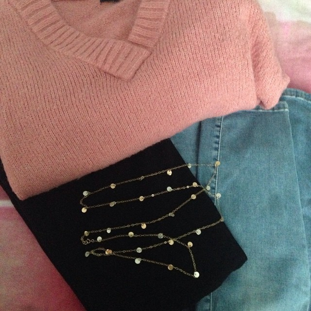 What I'm wearing - it's a little chilly today! #pink…