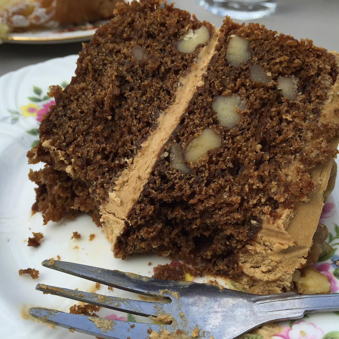 Amazing coffee and walnut cake at pettigrewtea today yum cakehellip
