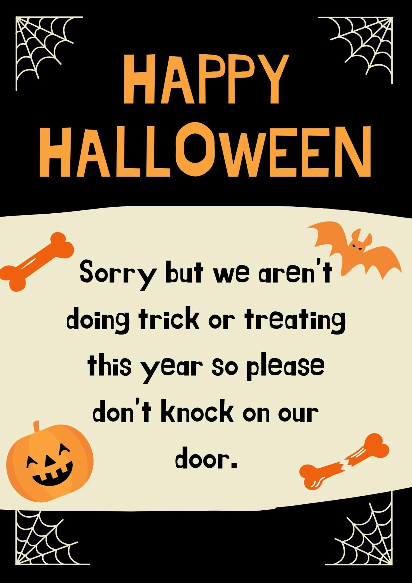 No Trick Or Treating Poster - Halloween Free Printable ...